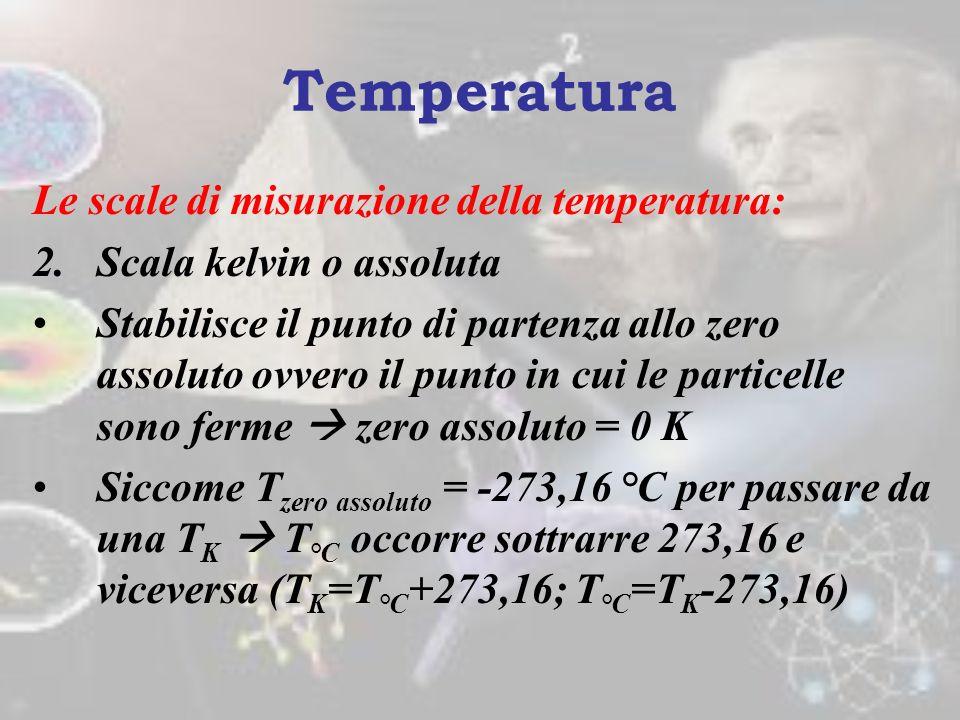 Le scale di misurazione della temperatura: 1.Scala celsius È fra le più antiche e comunemente usate Si basa sul punto di congelamento e di ebollizione