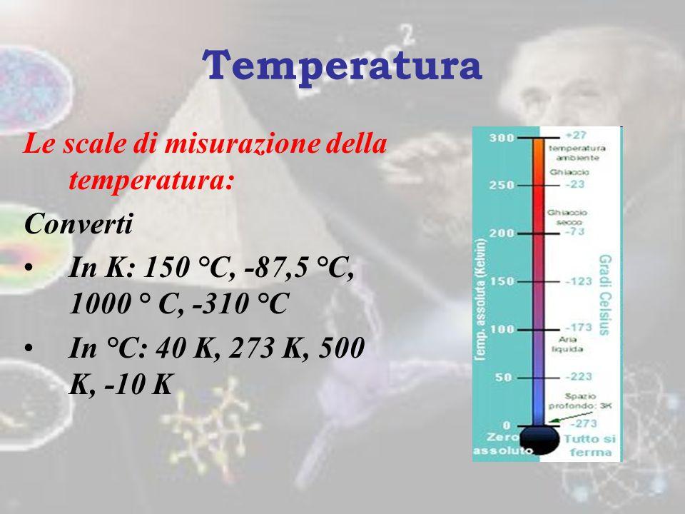 Le scale di misurazione della temperatura: 2.Scala kelvin o assoluta Stabilisce il punto di partenza allo zero assoluto ovvero il punto in cui le part