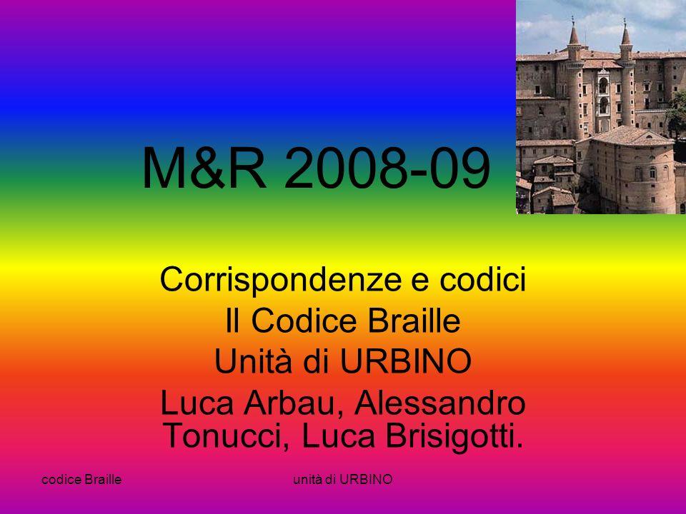 codice Brailleunità di URBINO M&R 2008-09 Corrispondenze e codici Il Codice Braille Unità di URBINO Luca Arbau, Alessandro Tonucci, Luca Brisigotti.