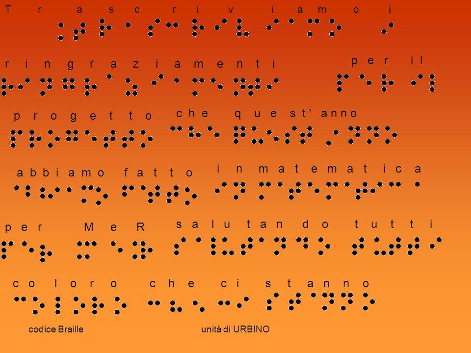 codice Brailleunità di URBINO T r a s c r i v i a m o i r i n g r a z i a m e n t i p e r i l p r o g e t t o c h e q u e s t a n n o a b b i a m o f a t t o i n m a t e m a t i c a p e r M e R s a l u t a n d o t u t t i c o l o r o c h e c i s t a n n o