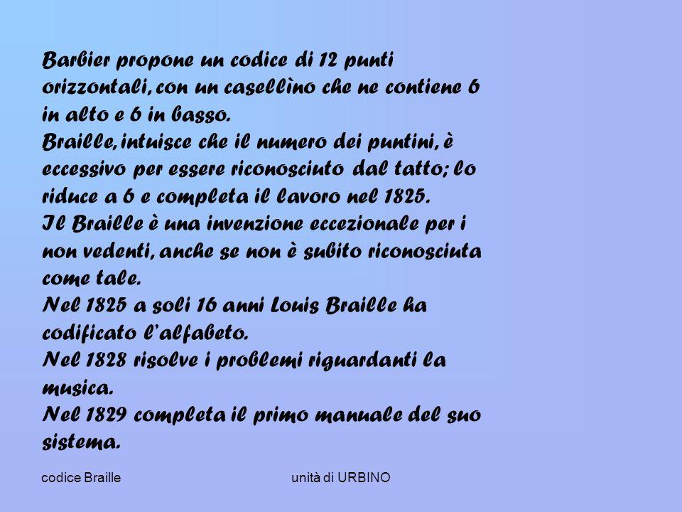 codice Brailleunità di URBINO Barbier propone un codice di 12 punti orizzontali, con un casellìno che ne contiene 6 in alto e 6 in basso.