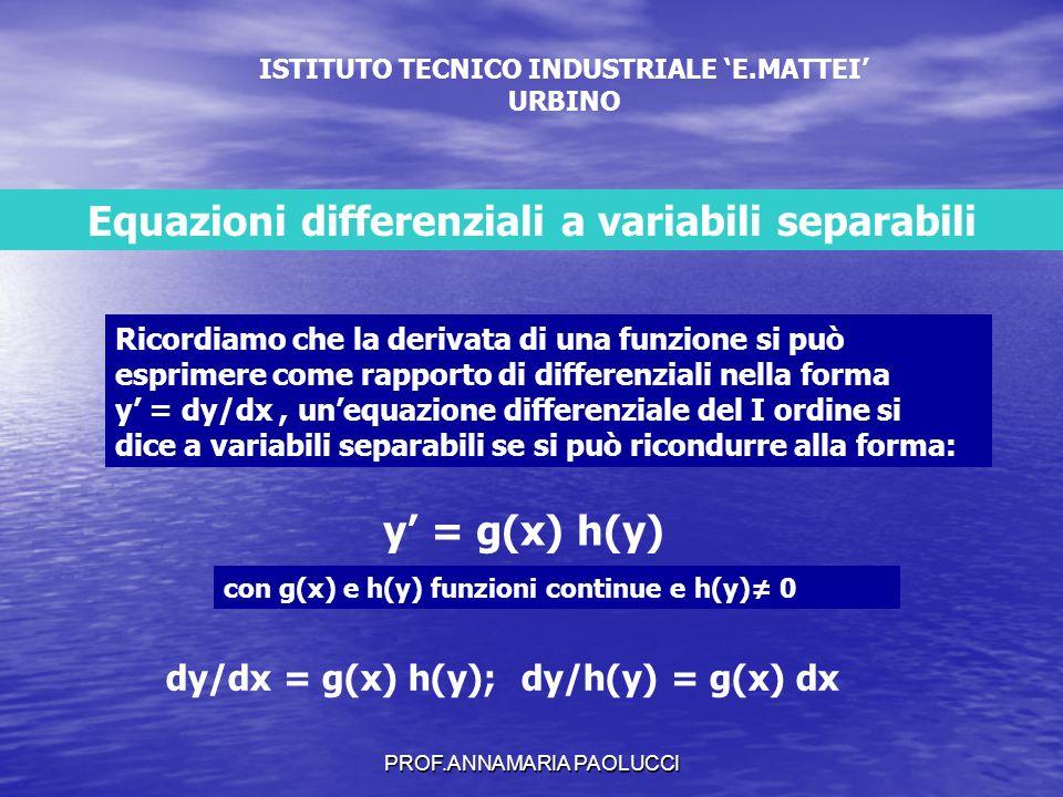 PROF.ANNAMARIA PAOLUCCI Data lequazione y=3y-1 dy/dx = g(x) h(y); dy/h(y) = g(x) dx 3y-1= h(y) ; 1= g(x) Se h(y) e g(x) sono funzioni continue allora esistono le loro primitive H(y) e G(x) e sono: h(y)dy = d(H(y)) e g(x) dx = d(G(x)) Deve essere d(H(y)) = d(G(x)), ma se questi due differenziali sono uguali le funzioni H(y) e G(x) differiscono per una costante cioè: H(y)= G(x) + c In definitiva per trovare lintegrale generale dellequazione data basta trovare le primitive delle due funzioni h(y) e g(x) cioè: