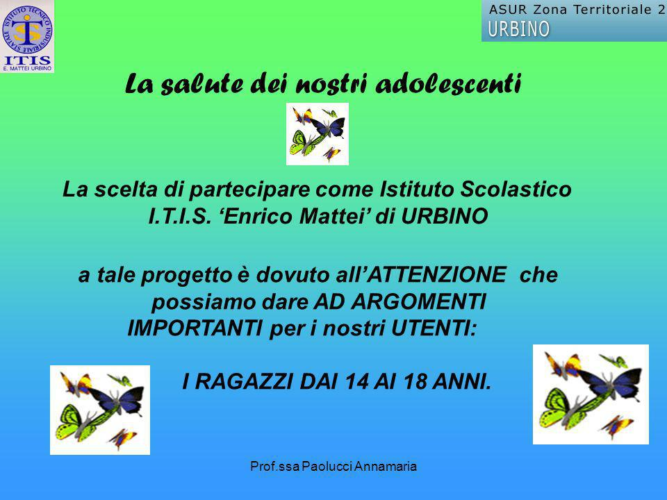 Prof.ssa Paolucci Annamaria La salute dei nostri adolescenti a tale progetto è dovuto allATTENZIONE che possiamo dare AD ARGOMENTI IMPORTANTI per i nostri UTENTI: I RAGAZZI DAI 14 AI 18 ANNI.