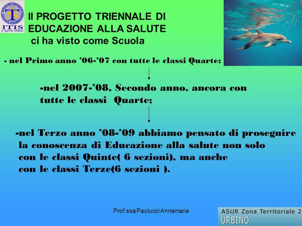 Prof.ssa Paolucci Annamaria - nel Primo anno 06-07 con tutte le classi Quarte; -nel 2007-08, Secondo anno, ancora con tutte le classi Quarte; -nel Ter