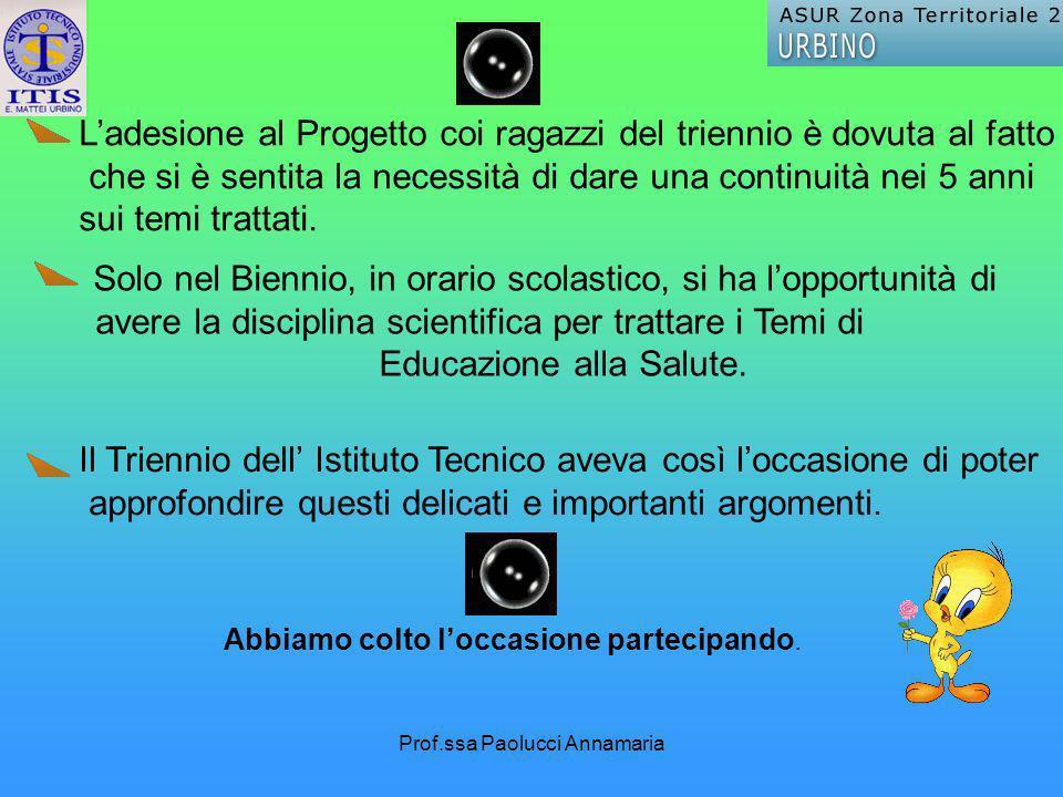 Prof.ssa Paolucci Annamaria Ladesione al Progetto coi ragazzi del triennio è dovuta al fatto che si è sentita la necessità di dare una continuità nei 5 anni sui temi trattati.