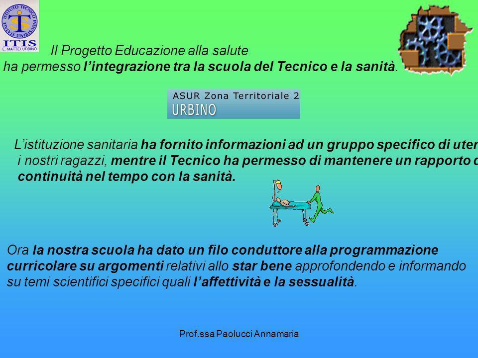 Prof.ssa Paolucci Annamaria Il Progetto Educazione alla salute ha permesso lintegrazione tra la scuola del Tecnico e la sanità. Listituzione sanitaria
