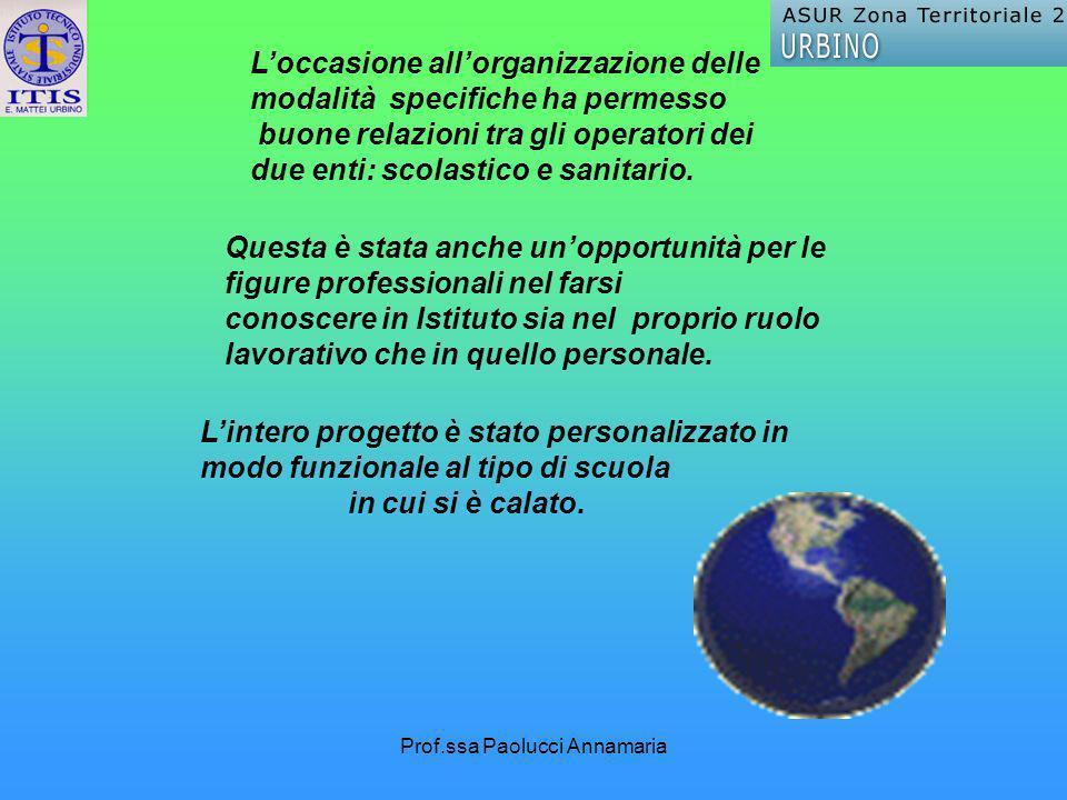 Prof.ssa Paolucci Annamaria Lintero progetto è stato personalizzato in modo funzionale al tipo di scuola in cui si è calato. Questa è stata anche unop