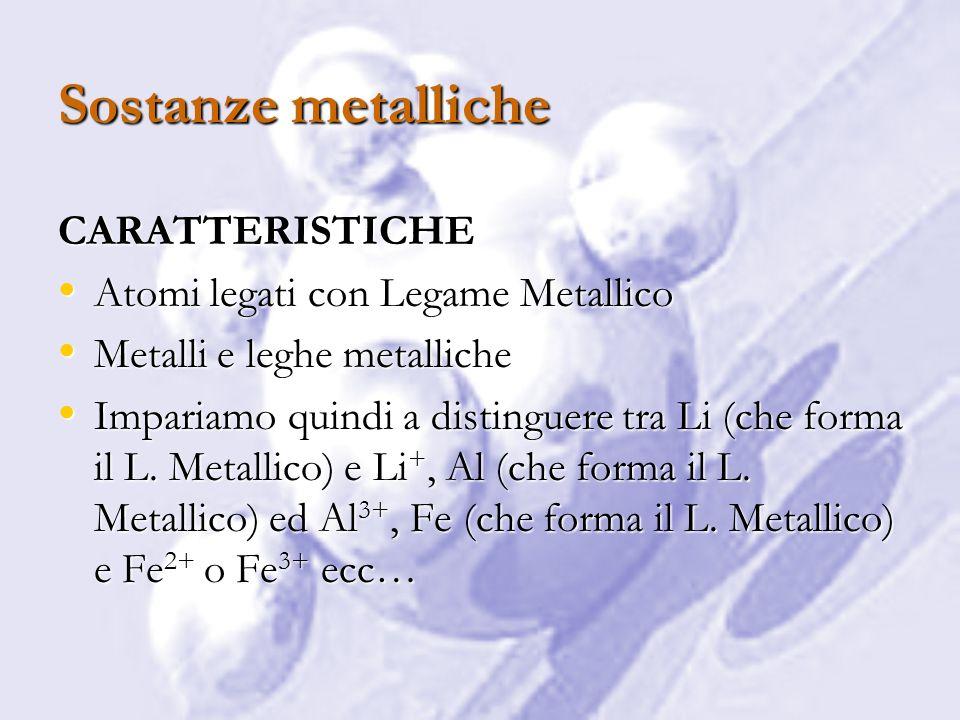 Sostanze molecolari CARATTERISTICHE Due tipi di legame: Due tipi di legame: – Interno alla molecola legame covalente – Fra le molecole diversi tipi di legame (idrogeno, di Van der Waals, di london…) Questo porta ad una variabilità massima delle proprietà chimico fisiche: Non possiamo definire le proprieta solo in base al tipo di sostanza, come fatto nei casi precedenti Questo porta ad una variabilità massima delle proprietà chimico fisiche: Non possiamo definire le proprieta solo in base al tipo di sostanza, come fatto nei casi precedenti