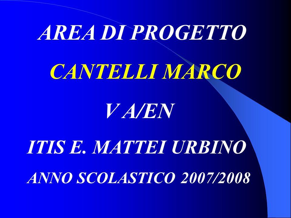 AREA DI PROGETTO CANTELLI MARCO V A/EN ITIS E. MATTEI URBINO ANNO SCOLASTICO 2007/2008