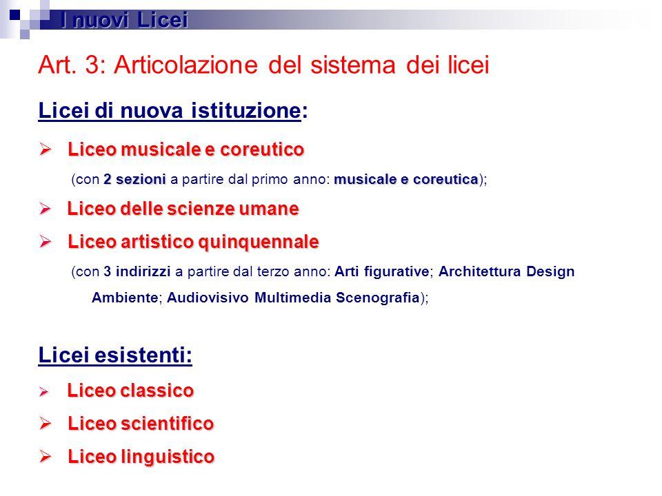 Art. 3: Articolazione del sistema dei licei Licei di nuova istituzione: Liceo musicale e coreutico Liceo musicale e coreutico 2 sezionimusicale e core