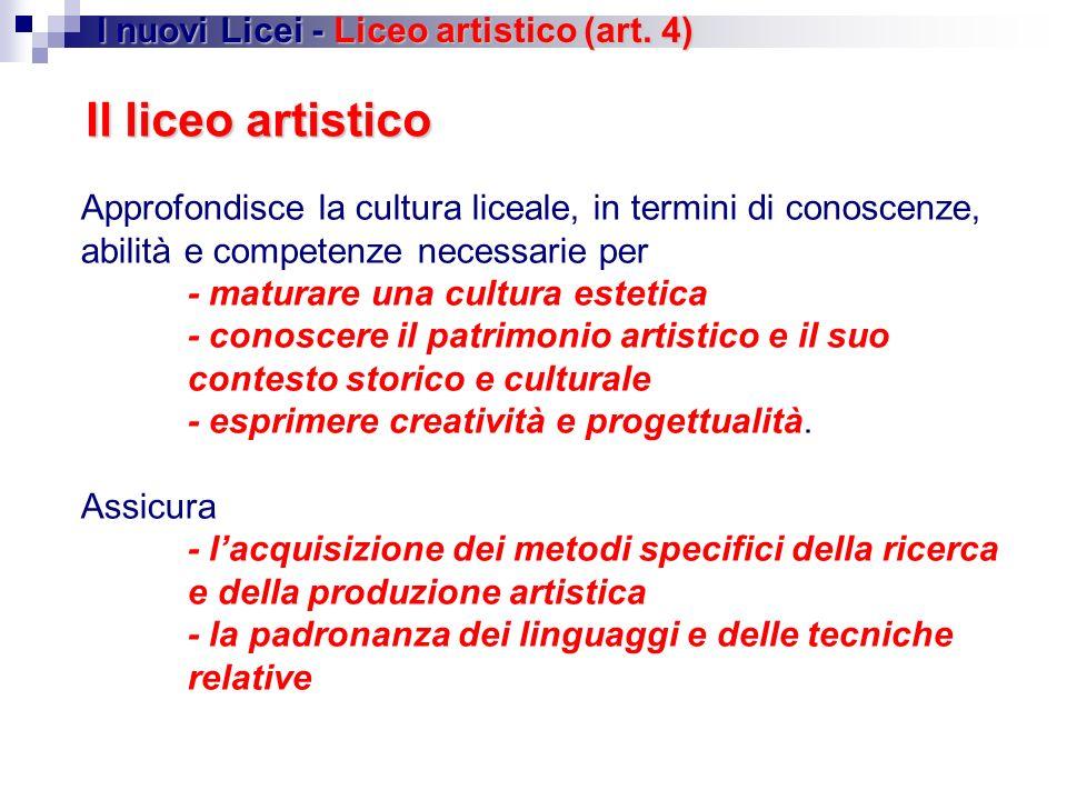 Il liceo artistico Approfondisce la cultura liceale, in termini di conoscenze, abilità e competenze necessarie per - maturare una cultura estetica - c