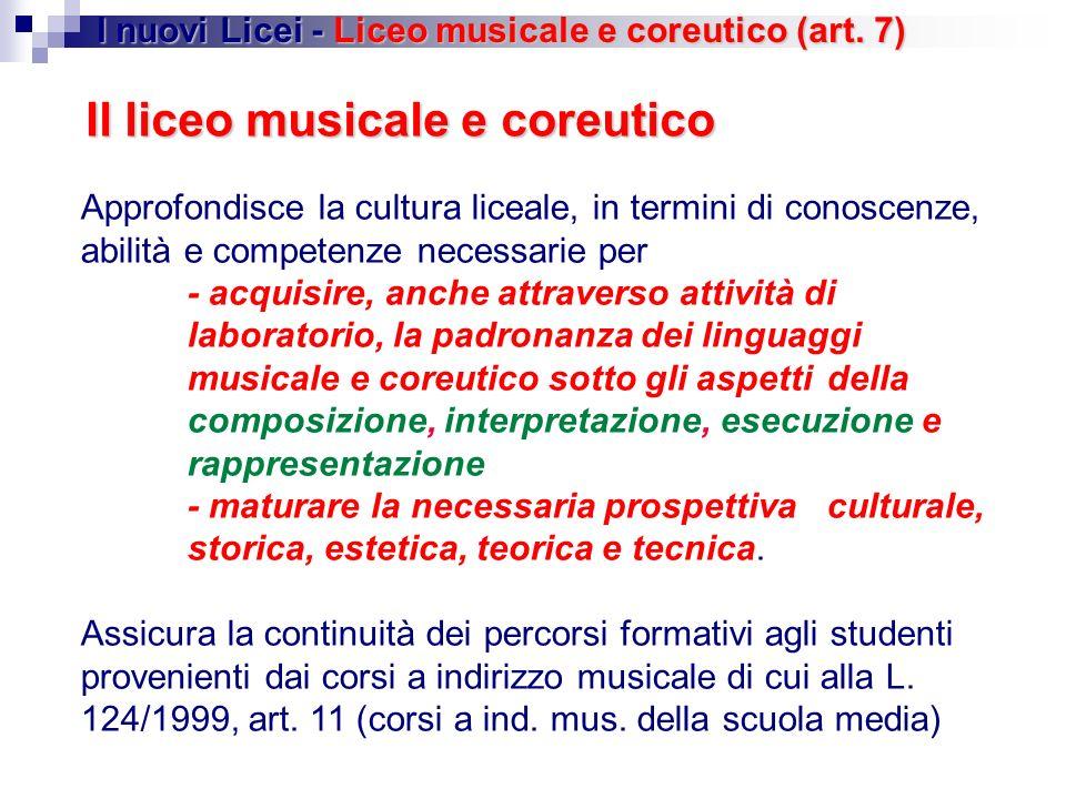 Il liceo musicale e coreutico Approfondisce la cultura liceale, in termini di conoscenze, abilità e competenze necessarie per - acquisire, anche attra