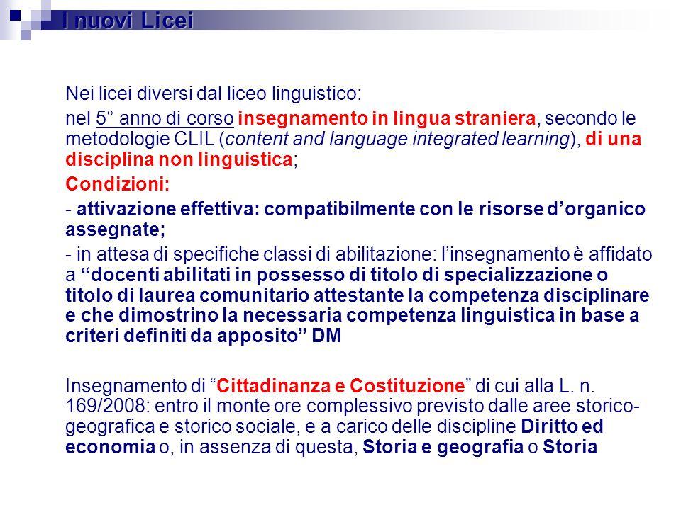 Nei licei diversi dal liceo linguistico: nel 5° anno di corso insegnamento in lingua straniera, secondo le metodologie CLIL (content and language inte