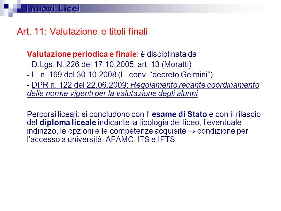 Art. 11: Valutazione e titoli finali Valutazione periodica e finale: è disciplinata da - D.Lgs. N. 226 del 17.10.2005, art. 13 (Moratti) - L. n. 169 d