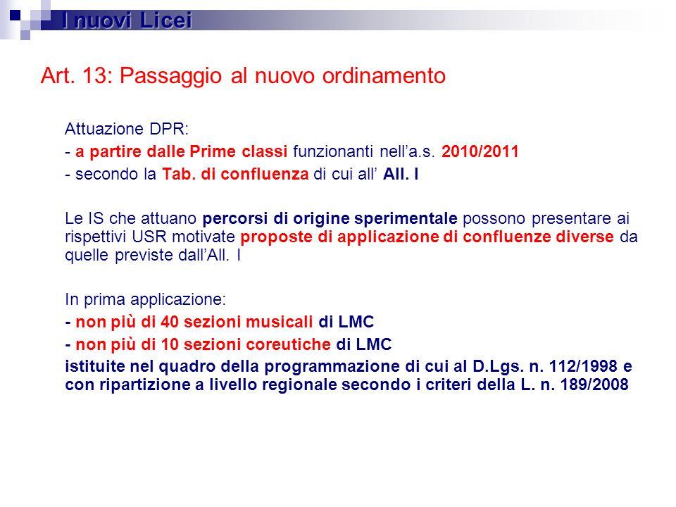 Art. 13: Passaggio al nuovo ordinamento Attuazione DPR: - a partire dalle Prime classi funzionanti nella.s. 2010/2011 - secondo la Tab. di confluenza