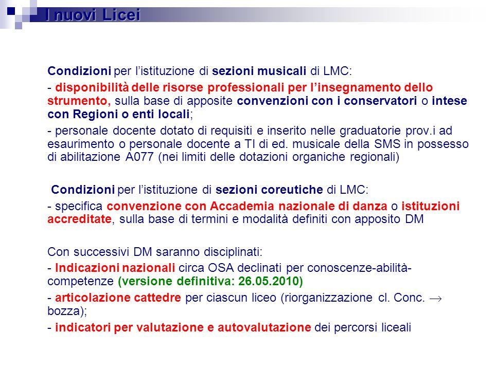 Condizioni per listituzione di sezioni musicali di LMC: - disponibilità delle risorse professionali per linsegnamento dello strumento, sulla base di a