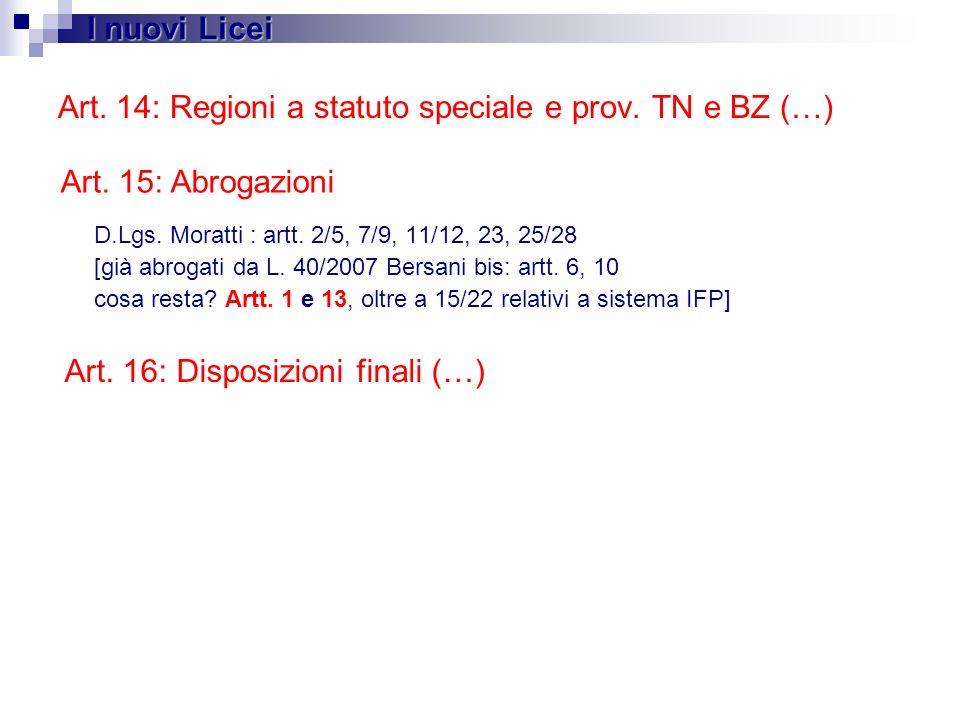 Art. 14: Regioni a statuto speciale e prov. TN e BZ (…) D.Lgs. Moratti : artt. 2/5, 7/9, 11/12, 23, 25/28 [già abrogati da L. 40/2007 Bersani bis: art