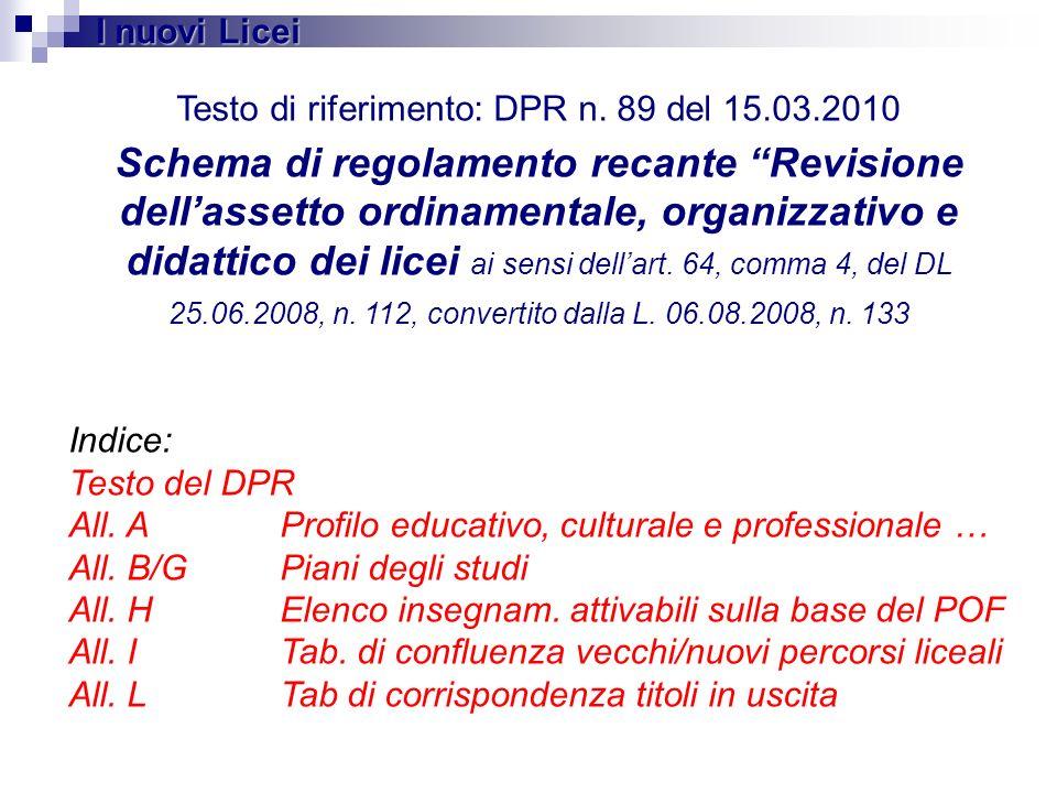 Testo di riferimento: DPR n. 89 del 15.03.2010 Schema di regolamento recante Revisione dellassetto ordinamentale, organizzativo e didattico dei licei