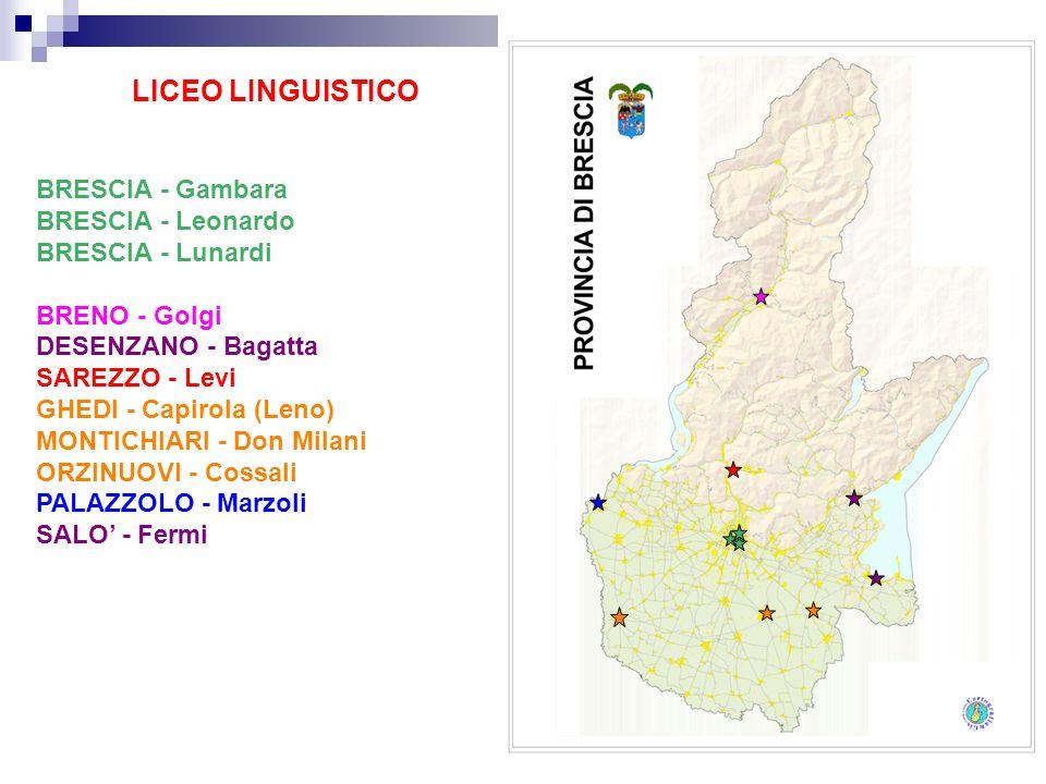LICEO LINGUISTICO BRESCIA - Gambara BRESCIA - Leonardo BRESCIA - Lunardi BRENO - Golgi DESENZANO - Bagatta SAREZZO - Levi GHEDI - Capirola (Leno) MONT