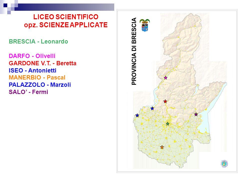 LICEO SCIENTIFICO opz. SCIENZE APPLICATE BRESCIA - Leonardo DARFO - Olivelli GARDONE V.T. - Beretta ISEO - Antonietti MANERBIO - Pascal PALAZZOLO - Ma