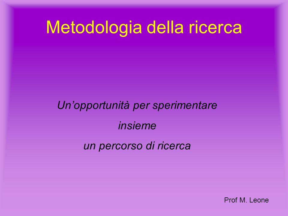 Metodologia della ricerca Unopportunità per sperimentare insieme un percorso di ricerca Prof M.