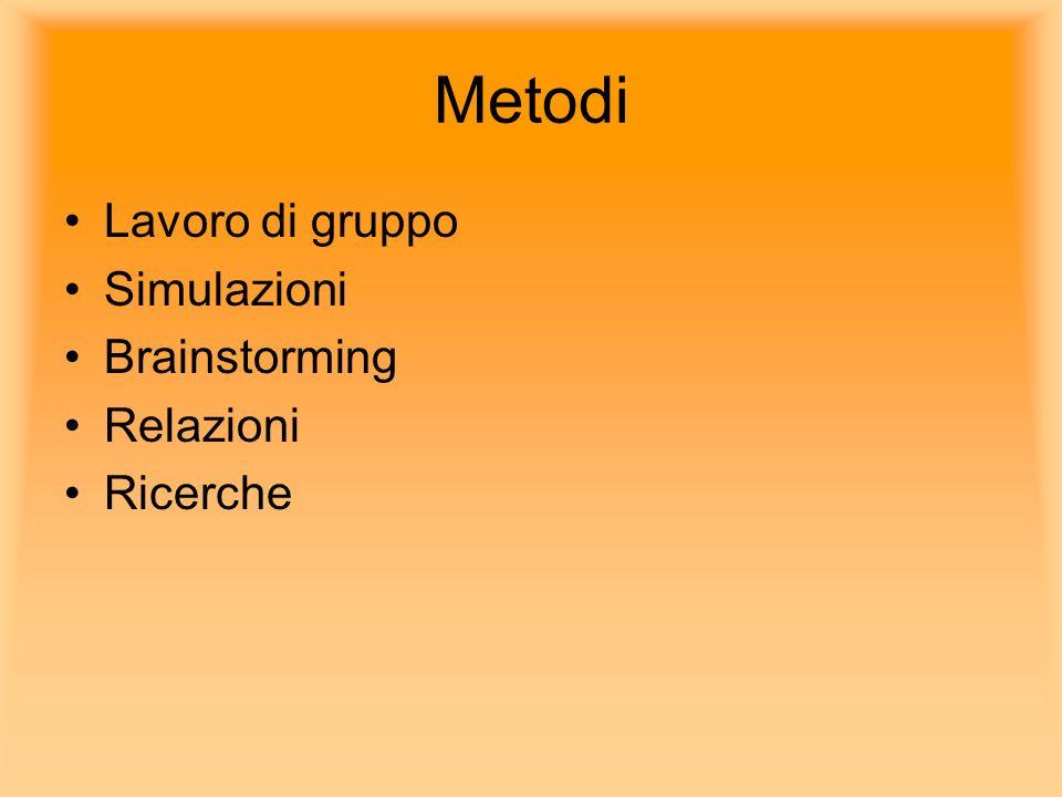 Metodi Lavoro di gruppo Simulazioni Brainstorming Relazioni Ricerche