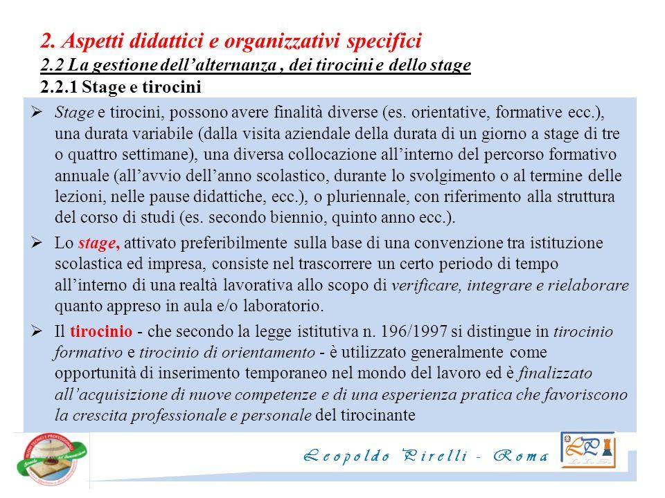2. Aspetti didattici e organizzativi specifici 2.2 La gestione dellalternanza, dei tirocini e dello stage 2.2.1 Stage e tirocini Stage e tirocini, pos