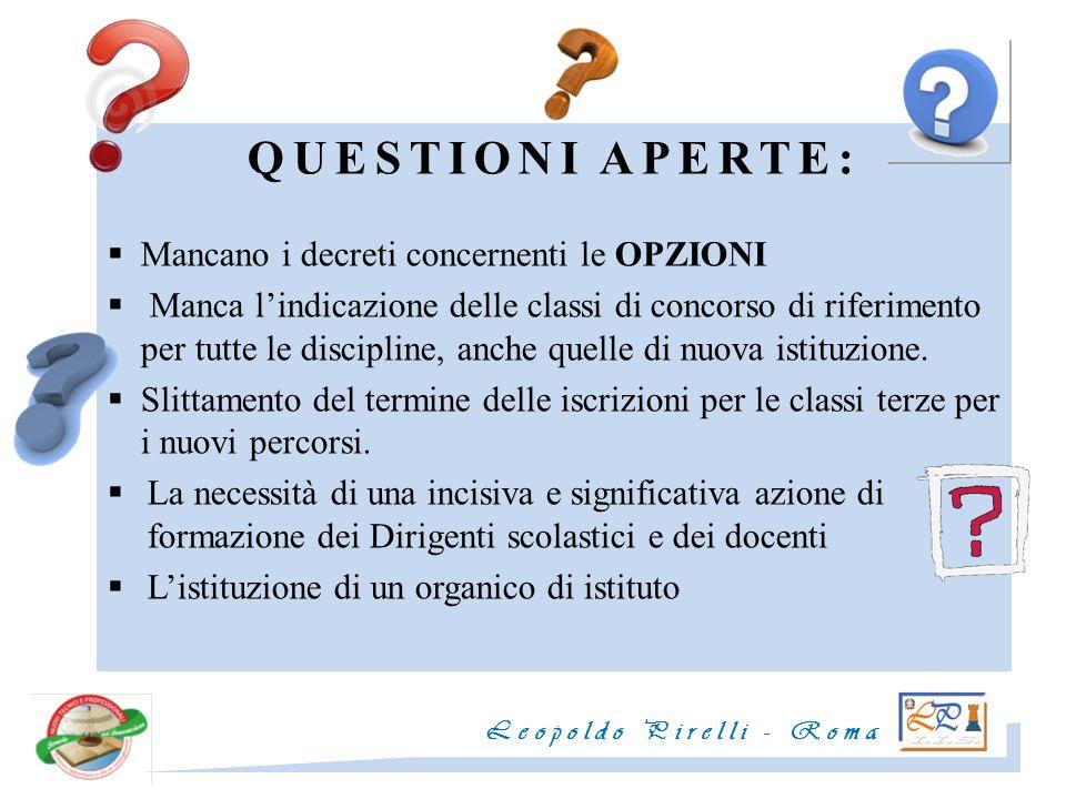 QUESTIONI APERTE: Mancano i decreti concernenti le OPZIONI Manca lindicazione delle classi di concorso di riferimento per tutte le discipline, anche q