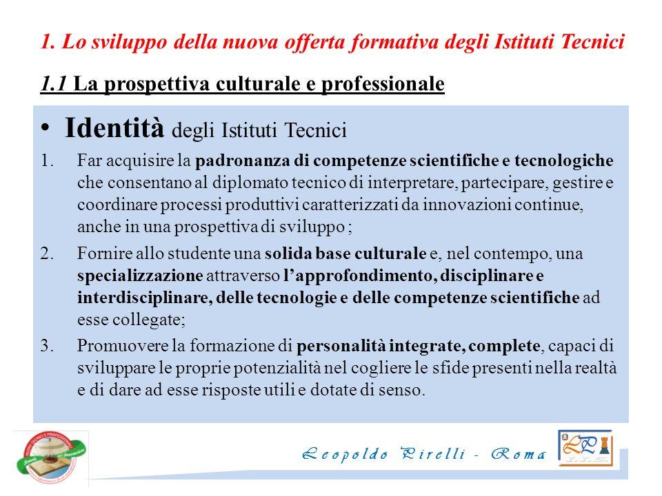 1. Lo sviluppo della nuova offerta formativa degli Istituti Tecnici 1.1 La prospettiva culturale e professionale Identità degli Istituti Tecnici 1.Far