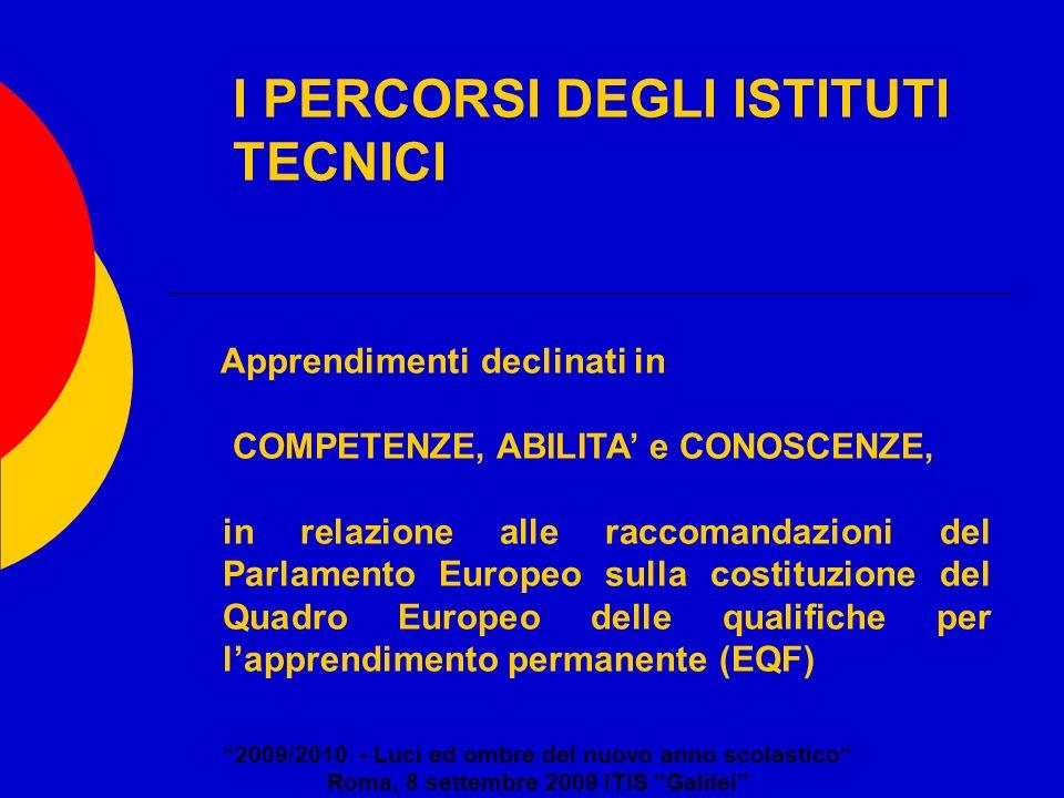 I PERCORSI DEGLI ISTITUTI TECNICI 2009/2010 - Luci ed ombre del nuovo anno scolastico Roma, 8 settembre 2009 ITIS Galilei Apprendimenti declinati in C