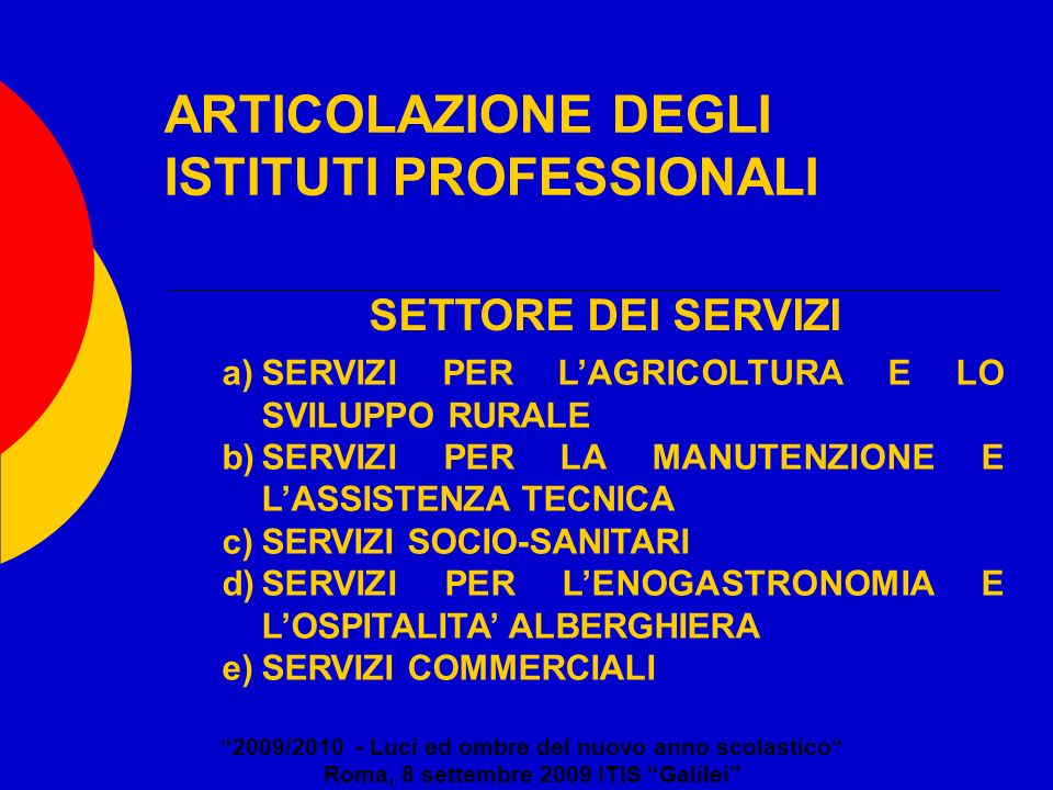 ARTICOLAZIONE DEGLI ISTITUTI PROFESSIONALI 2009/2010 - Luci ed ombre del nuovo anno scolastico Roma, 8 settembre 2009 ITIS Galilei a)SERVIZI PER LAGRI