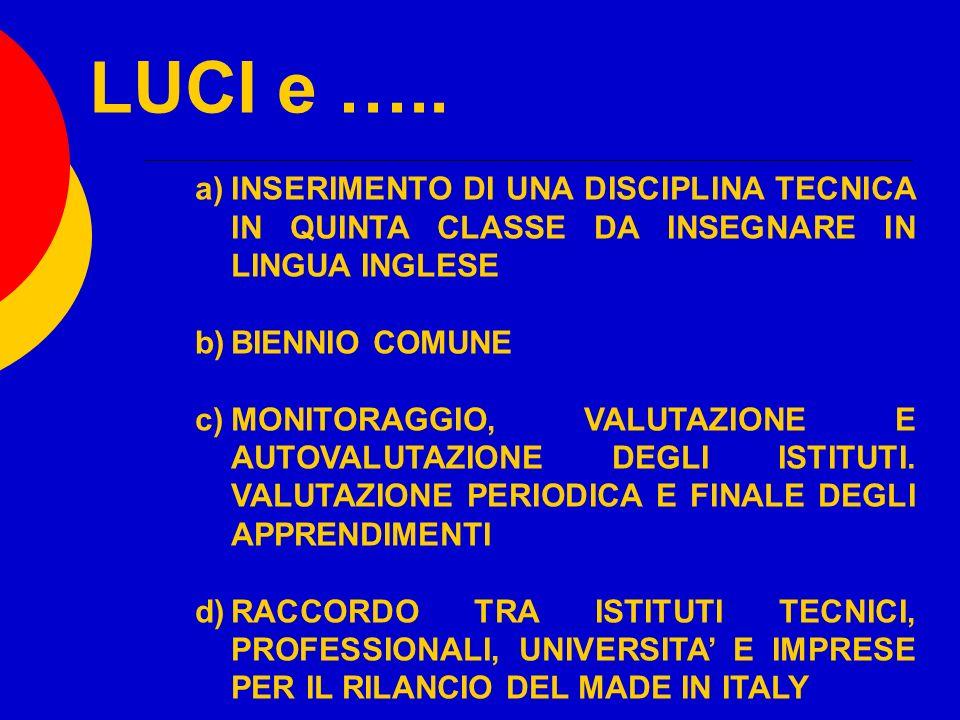 LUCI e ….. a)INSERIMENTO DI UNA DISCIPLINA TECNICA IN QUINTA CLASSE DA INSEGNARE IN LINGUA INGLESE b)BIENNIO COMUNE c)MONITORAGGIO, VALUTAZIONE E AUTO