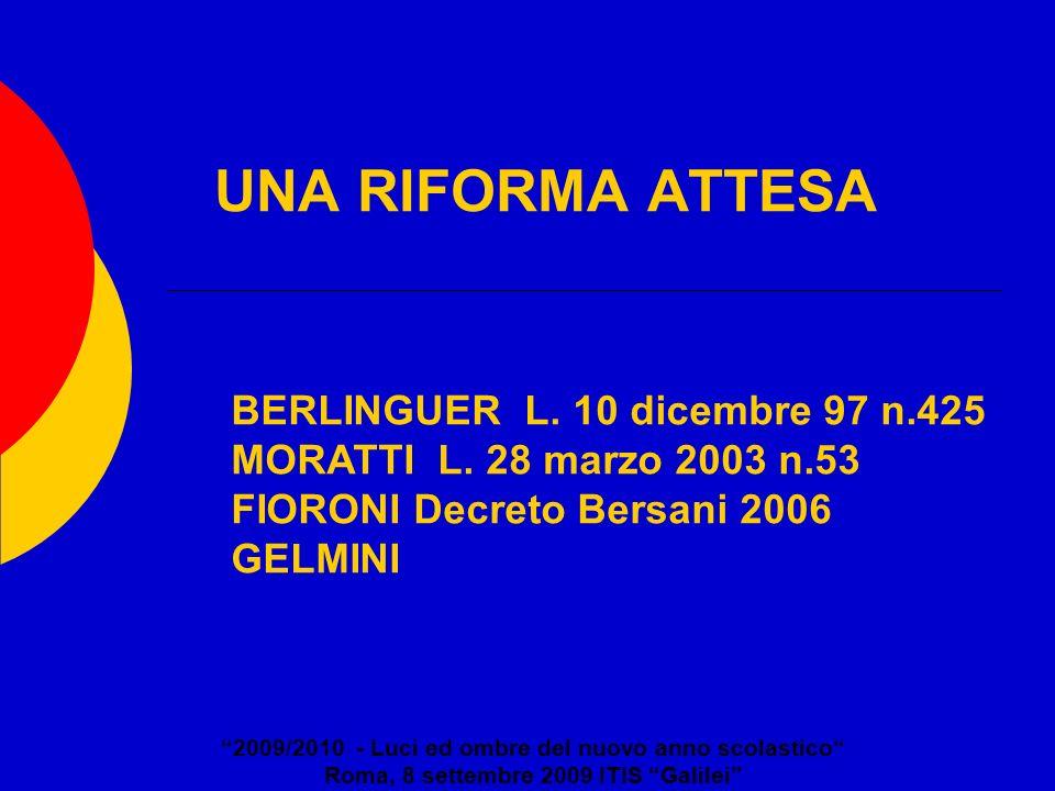 UNA RIFORMA ATTESA 2009/2010 - Luci ed ombre del nuovo anno scolastico Roma, 8 settembre 2009 ITIS Galilei BERLINGUER L. 10 dicembre 97 n.425 MORATTI