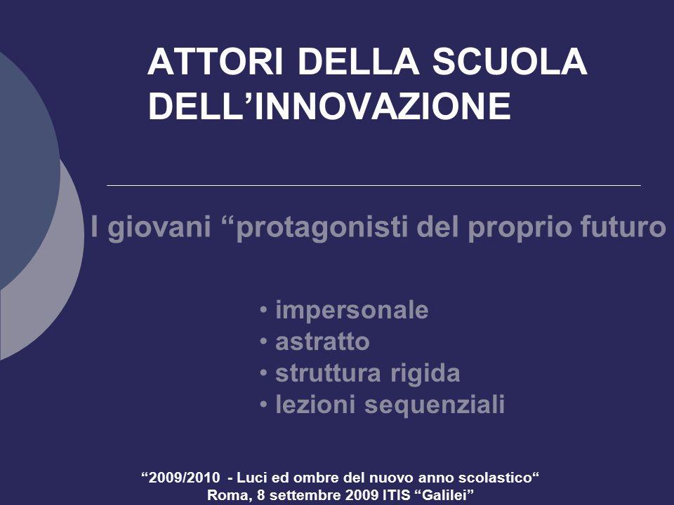 2009/2010 - Luci ed ombre del nuovo anno scolastico Roma, 8 settembre 2009 ITIS Galilei ATTORI DELLA SCUOLA DELLINNOVAZIONE I giovani protagonisti del