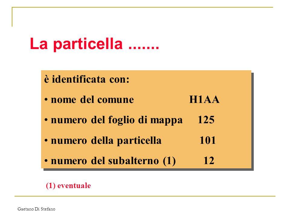Gaetano Di Stefano La particella....... è identificata con: nome del comuneH1AA numero del foglio di mappa 125 numero della particella 101 numero del