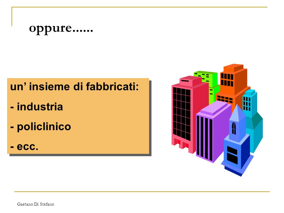 Gaetano Di Stefano oppure...... un insieme di fabbricati: - industria - policlinico - ecc. un insieme di fabbricati: - industria - policlinico - ecc.