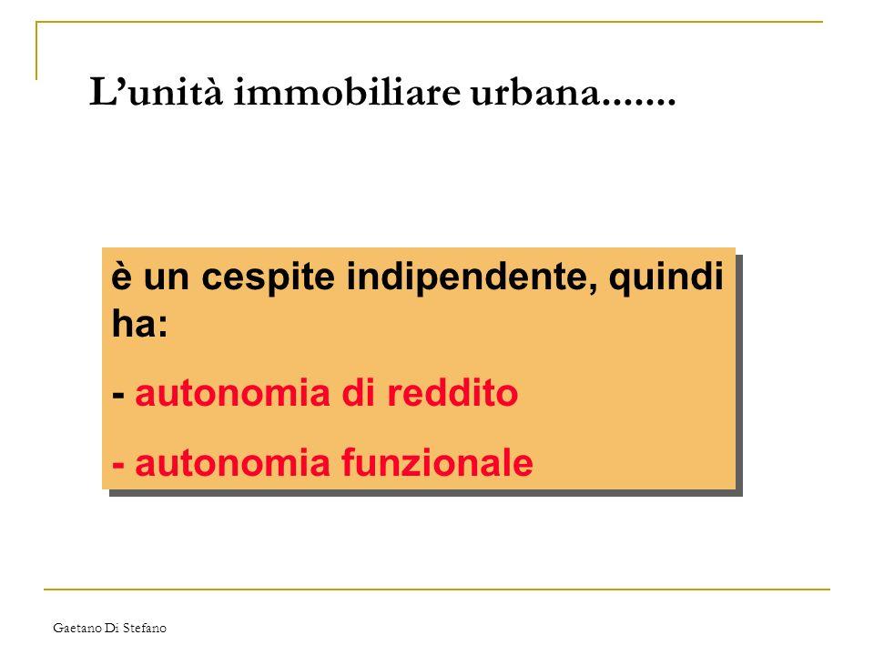 Gaetano Di Stefano Lunità immobiliare urbana....... è un cespite indipendente, quindi ha: - autonomia di reddito - autonomia funzionale è un cespite i