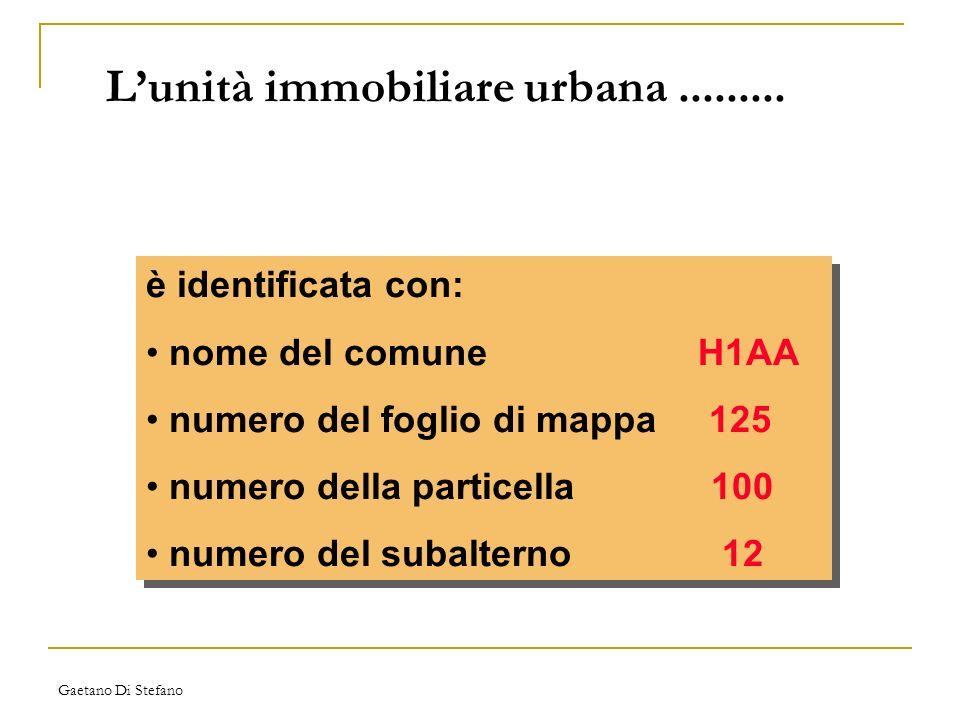 Gaetano Di Stefano Lunità immobiliare urbana......... è identificata con: nome del comune H1AA numero del foglio di mappa 125 numero della particella