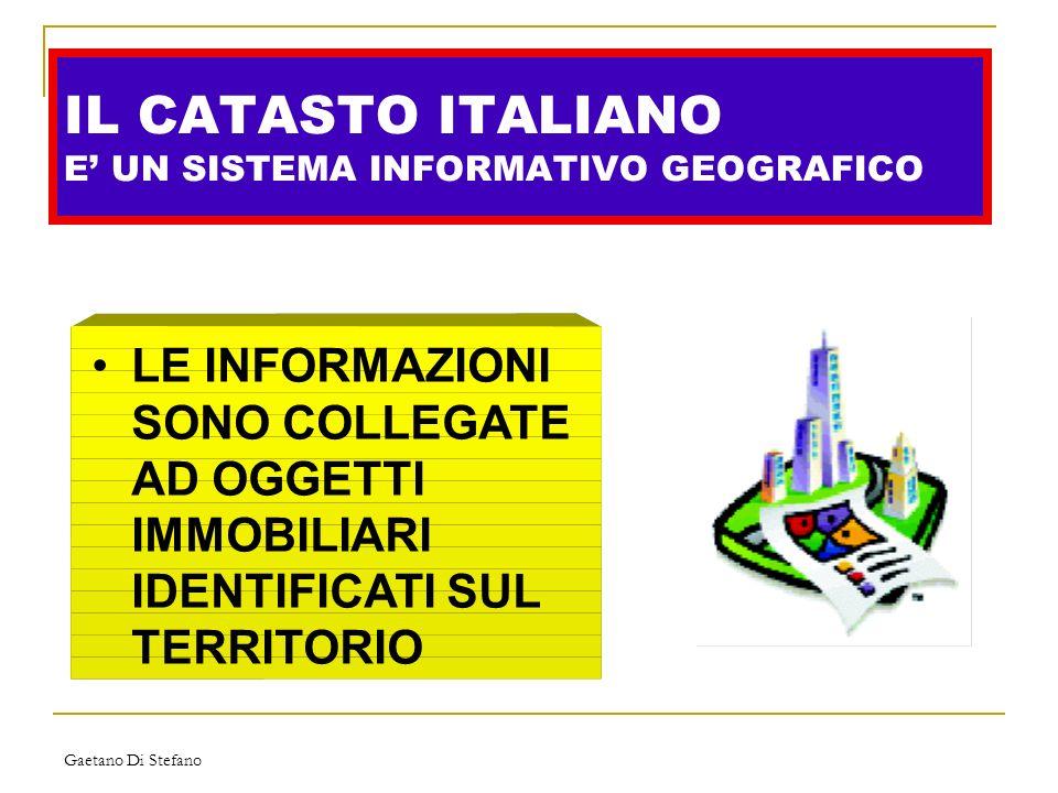 Gaetano Di Stefano IL CATASTO ITALIANO E UN SISTEMA INFORMATIVO GEOGRAFICO LE INFORMAZIONI SONO COLLEGATE AD OGGETTI IMMOBILIARI IDENTIFICATI SUL TERR