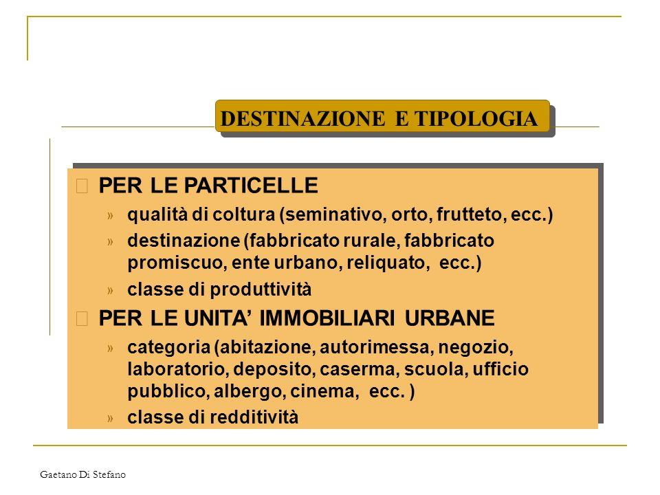 Gaetano Di Stefano • PER LE PARTICELLE » qualità di coltura (seminativo, orto, frutteto, ecc.) » destinazione (fabbricato rurale, fabbricato promiscuo