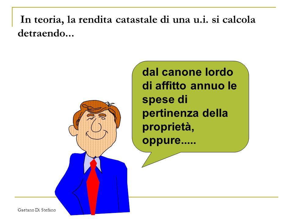 Gaetano Di Stefano In teoria, la rendita catastale di una u.i. si calcola detraendo... dal canone lordo di affitto annuo le spese di pertinenza della