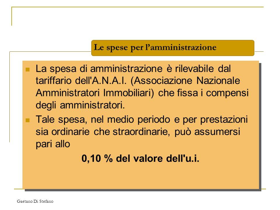Gaetano Di Stefano La spesa di amministrazione è rilevabile dal tariffario dell'A.N.A.I. (Associazione Nazionale Amministratori Immobiliari) che fissa