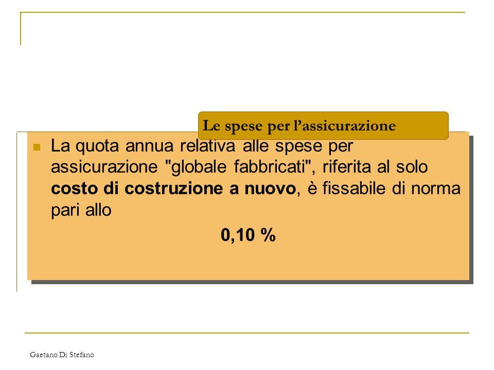 Gaetano Di Stefano La quota annua relativa alle spese per assicurazione