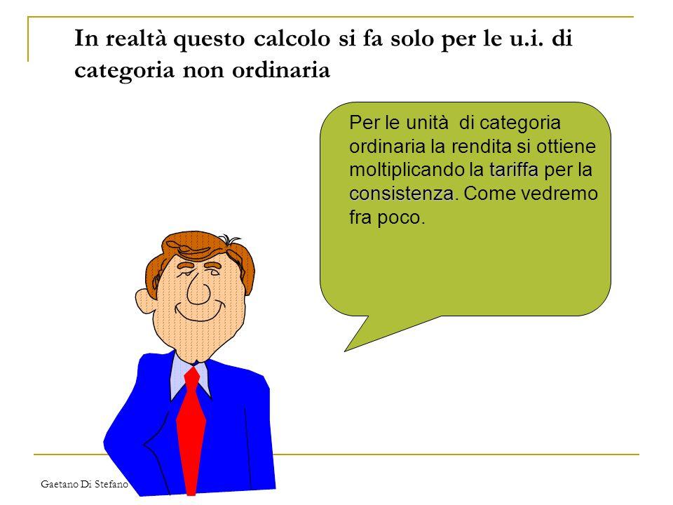 Gaetano Di Stefano In realtà questo calcolo si fa solo per le u.i. di categoria non ordinaria tariffa consistenza Per le unità di categoria ordinaria