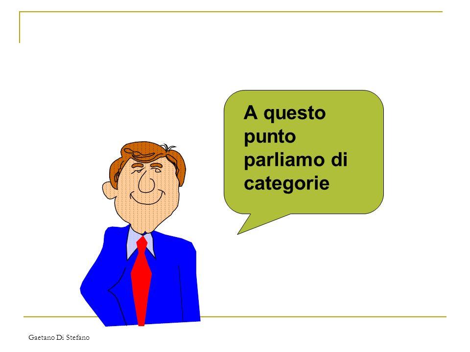 Gaetano Di Stefano A questo punto parliamo di categorie
