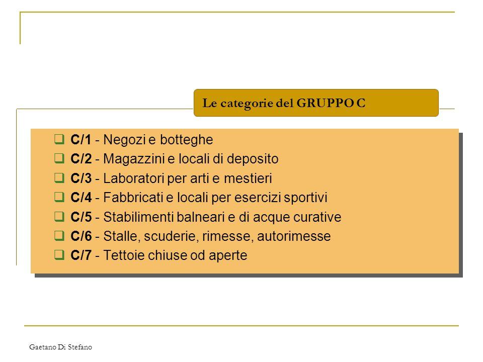 Gaetano Di Stefano C/1 - Negozi e botteghe C/2 - Magazzini e locali di deposito C/3 - Laboratori per arti e mestieri C/4 - Fabbricati e locali per ese