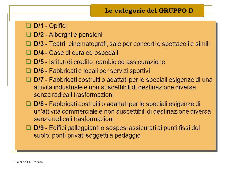 Gaetano Di Stefano D/1 - Opifici D/2 - Alberghi e pensioni D/3 - Teatri, cinematografi, sale per concerti e spettacoli e simili D/4 - Case di cura ed