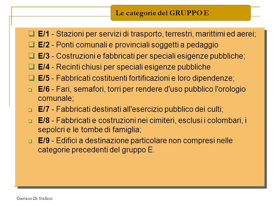 Gaetano Di Stefano E/1 - Stazioni per servizi di trasporto, terrestri, marittimi ed aerei; E/2 - Ponti comunali e provinciali soggetti a pedaggio E/3