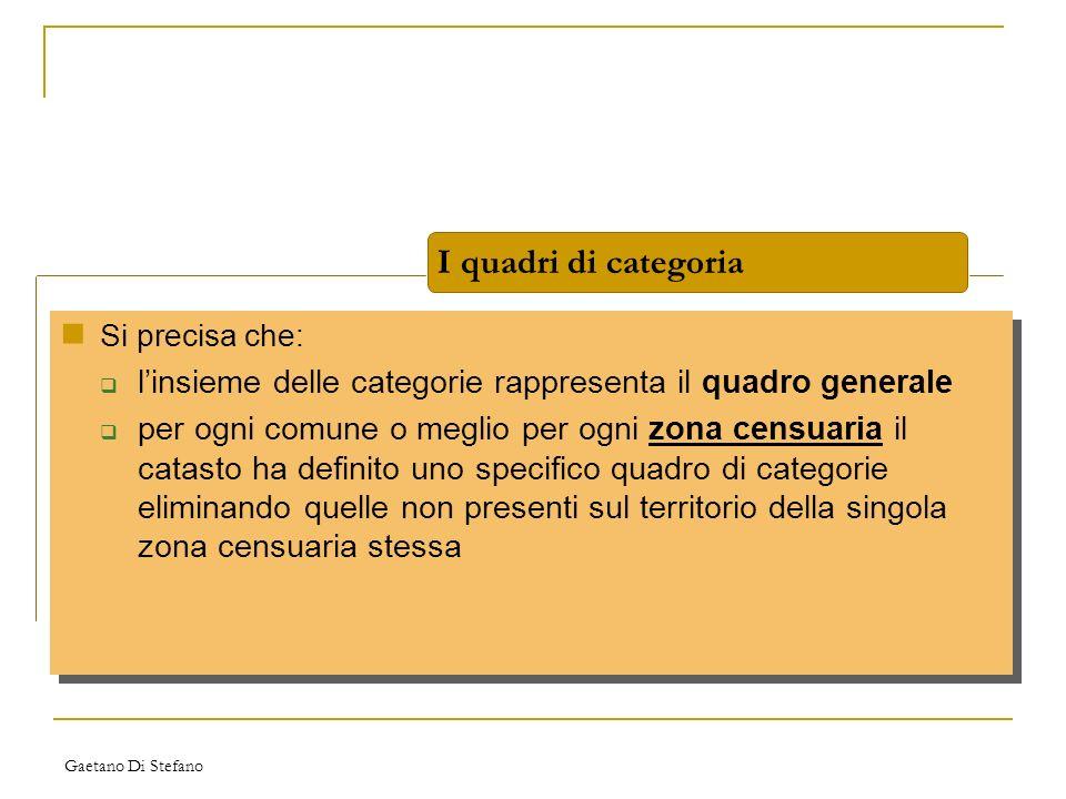 Gaetano Di Stefano I quadri di categoria Si precisa che: linsieme delle categorie rappresenta il quadro generale per ogni comune o meglio per ogni zon