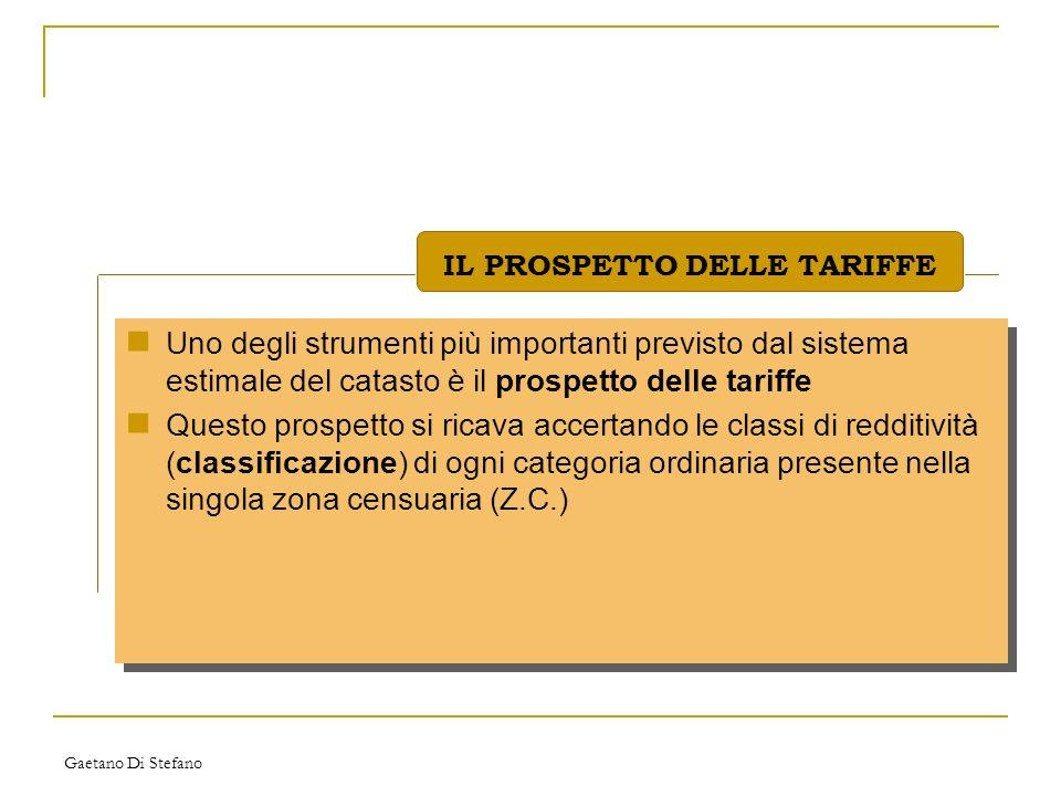 Gaetano Di Stefano Uno degli strumenti più importanti previsto dal sistema estimale del catasto è il prospetto delle tariffe Questo prospetto si ricav